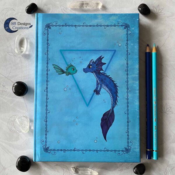 Water Draakje Notitieboek Magisch Journal Fantasy Art SBDesignsCreations Magische Wezens