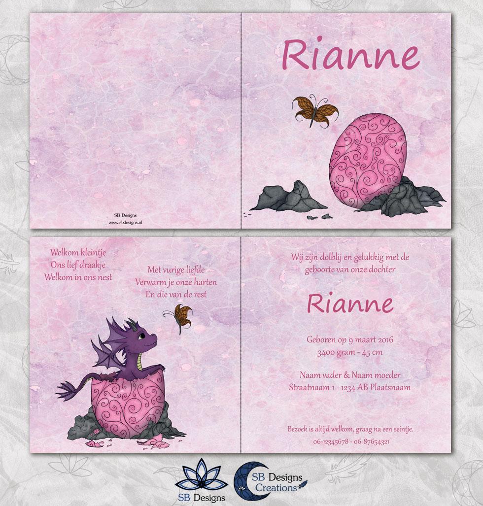 Babydraakje Ei Roze Magisch Geboortekaartje-3