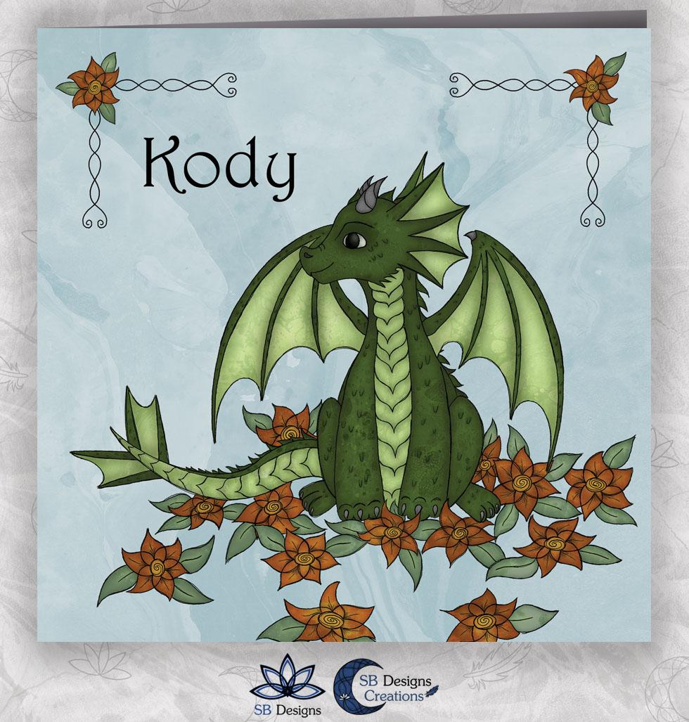 Bloemen Draakje Geboortekaartje Blauw SBDesigns Fantasy Babykaarten