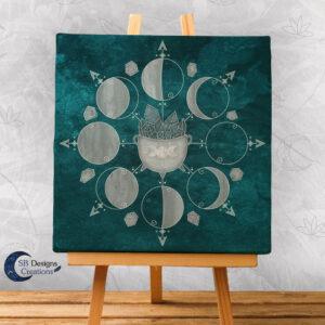 Canvas Art Maanfasen Maan Crystals en Heksenketel-1