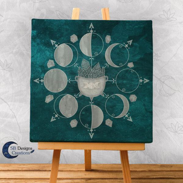 Canvas Art Moonphases Moon Crystals and Cauldron-1