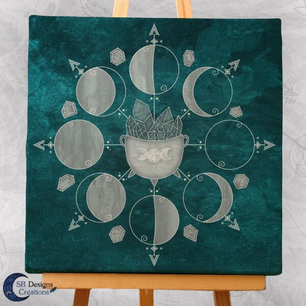 Canvas Art Moonphases Moon Crystals and Cauldron-3