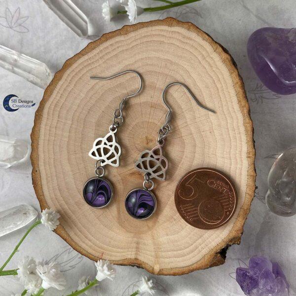 Celtic Heart Oorbellen - Paars Zwart-2