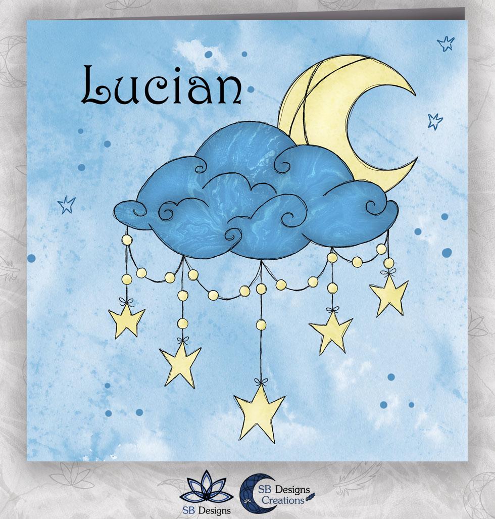 Cresent Moon Geboortekaartje Halve Maan Blauw-1