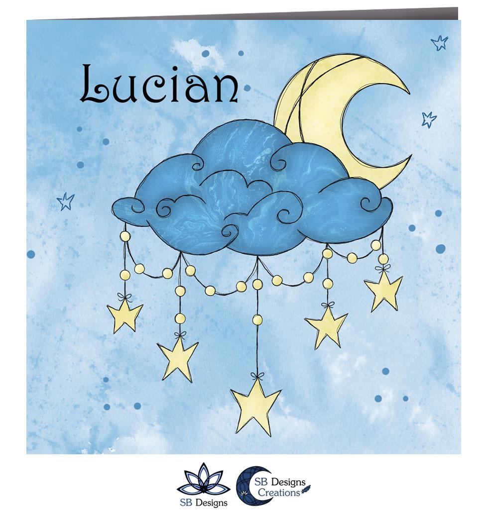Cresent Moon Geboortekaartje Halve Maan Blauw-2