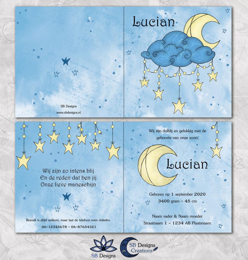 Cresent Moon Geboortekaartje Halve Maan Blauw-3