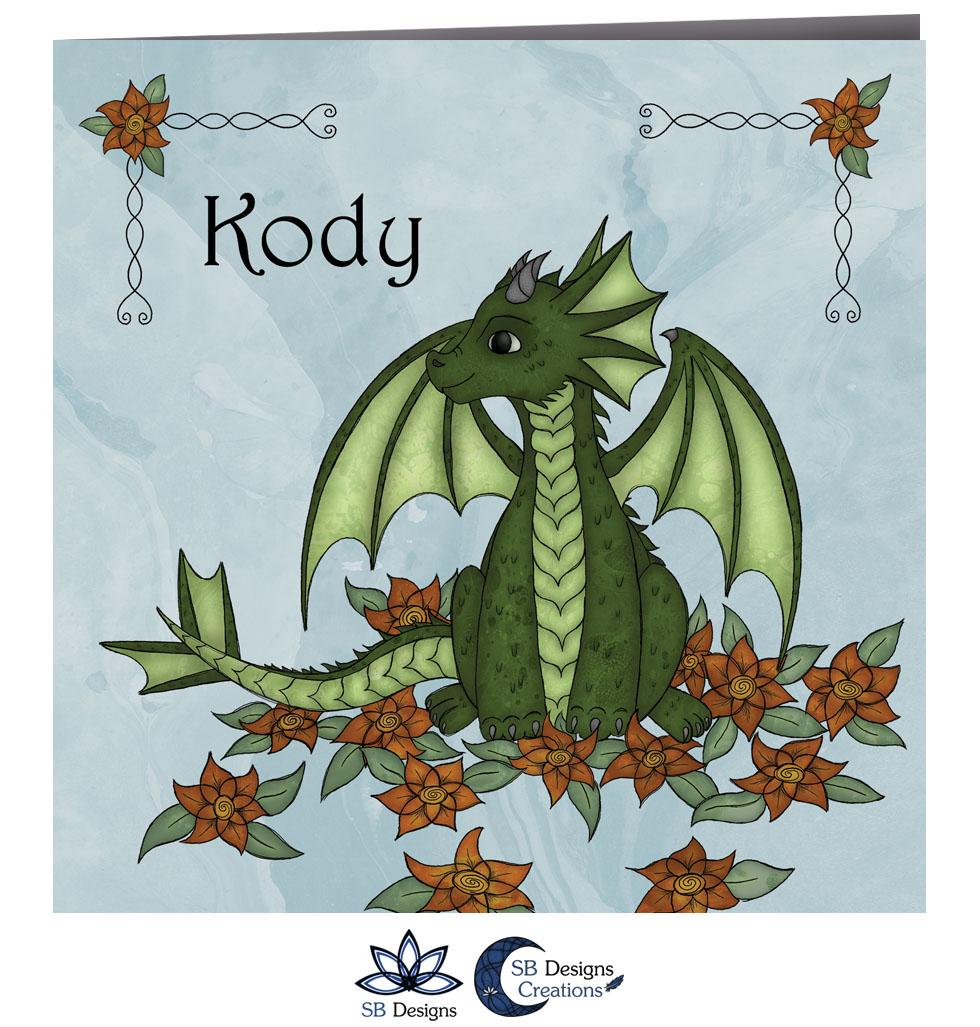 Draakje Geboortekaartje Blauw met Bloemen SBDesigns Fantasy Babykaarten