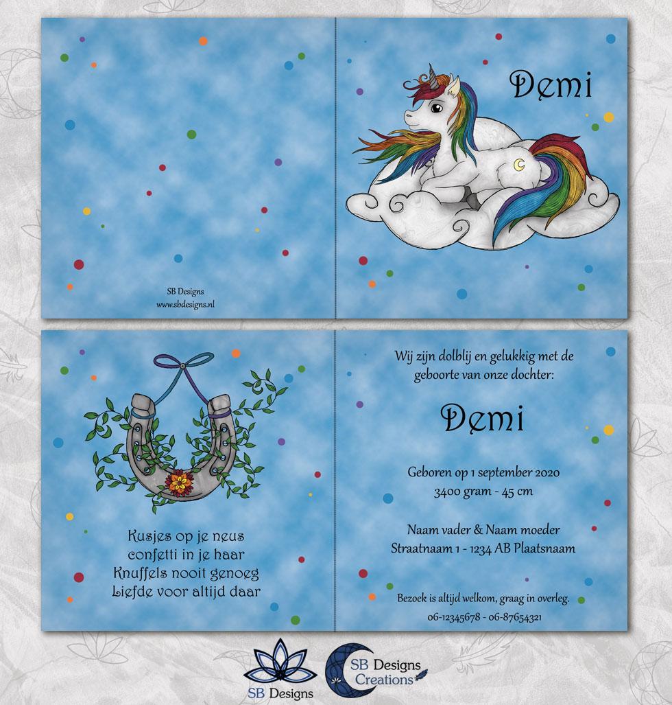 Eenhoorn-Geboortekaartje-Fantasy-Regenboog-Unicorn-Fantasy