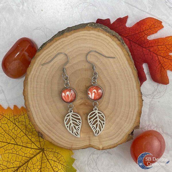 Elvina-Elf Oorbellen-Blad oorbellen Oranje-1