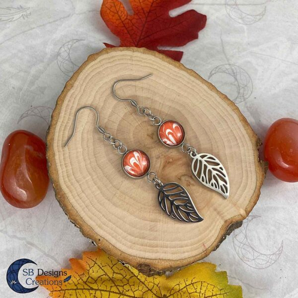 Elvina-Elf Oorbellen-Blad oorbellen Oranje-2