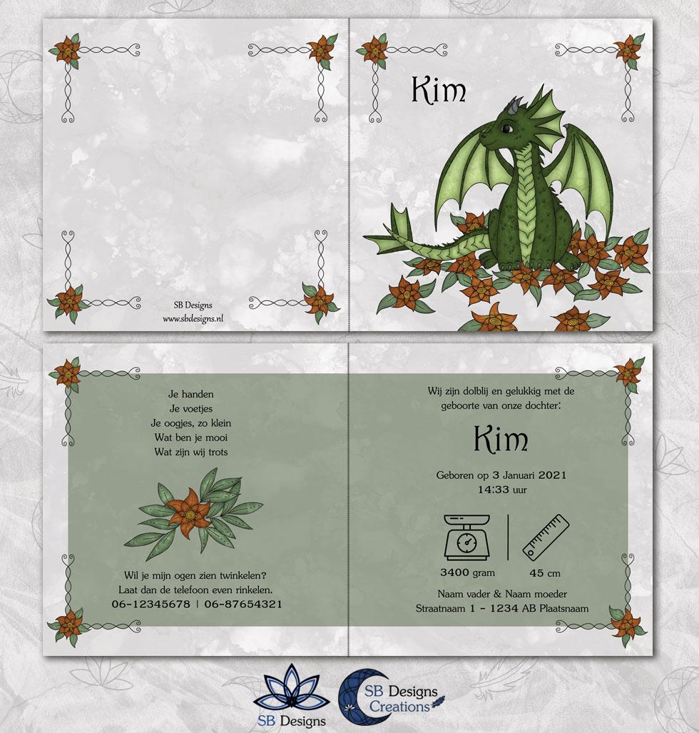 Flower Bloem Draak Geboortekaartje Magische Wezens Draken illustratie Baby SBDesigns-3