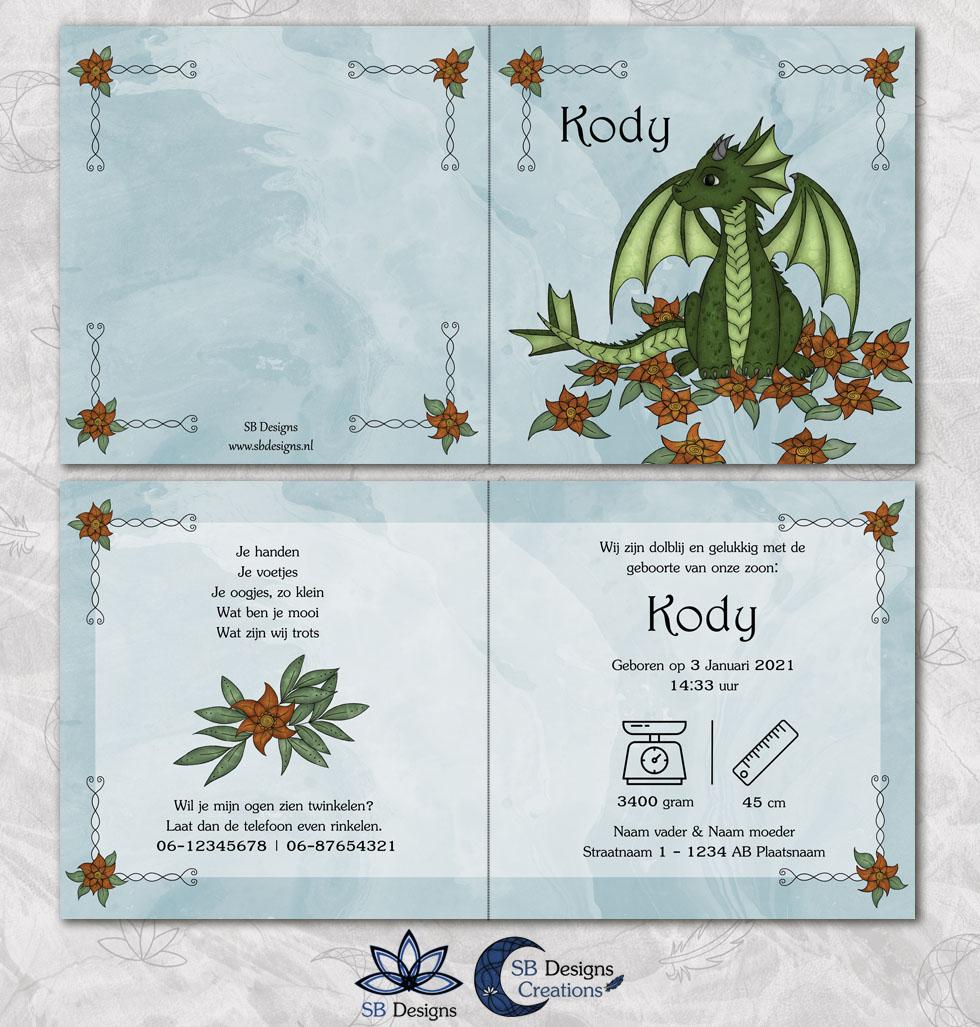 Flower Draakje Geboortekaartje Blauw SBDesigns Fantasy Babykaarten