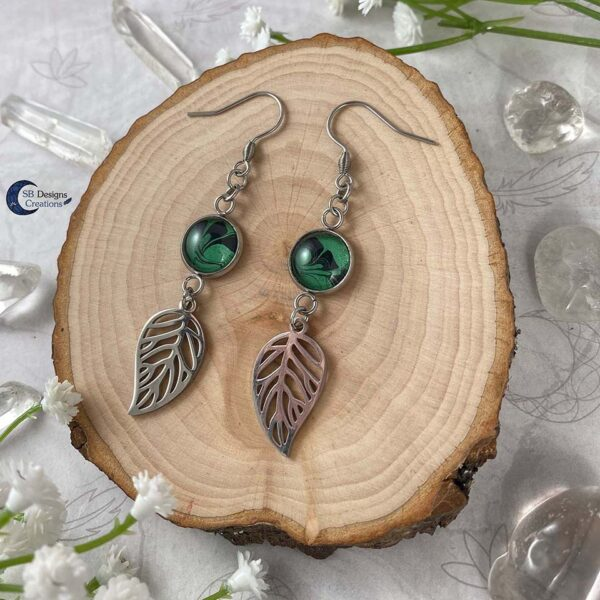 Forest Witch - Green Witch - elvina blad oorbellen-2