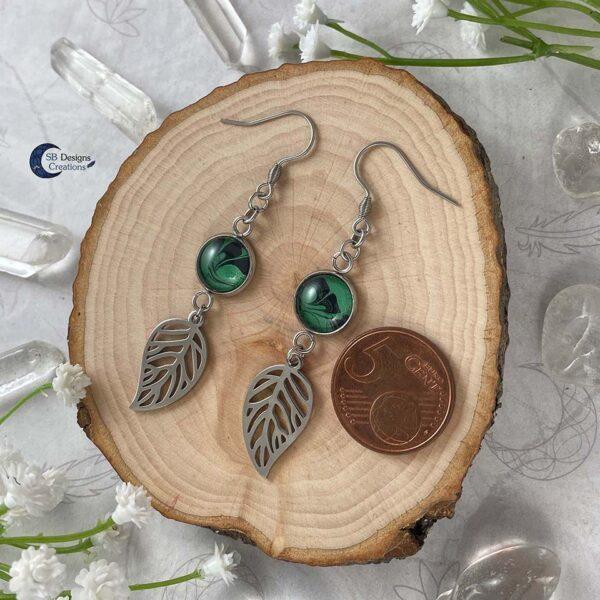 Forest Witch - Green Witch - elvina blad oorbellen-3