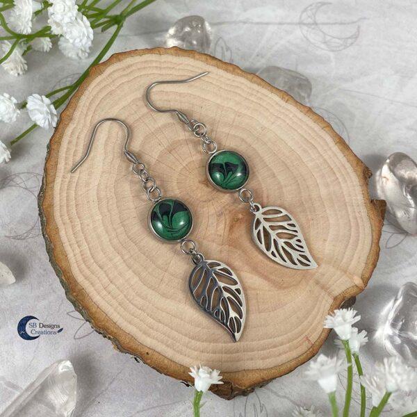 Forest Witch - Green Witch - elvina blad oorbellen-4