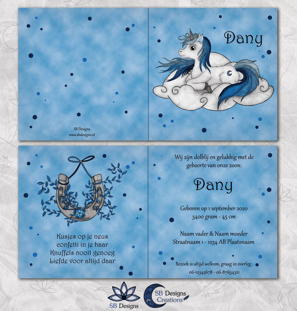 Geboortekaartje Eenhoorn Blauw