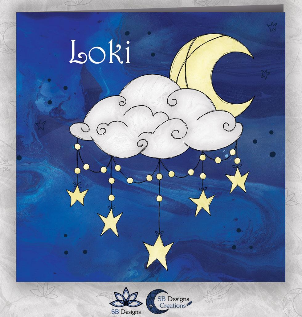 Halve Maan Geboortekaartje Nacht Crescent Moon Babykaart-1