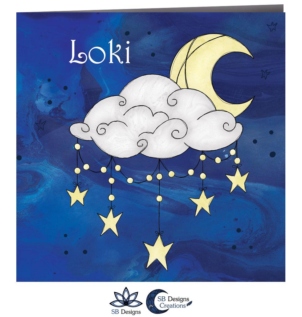 Halve Maan Geboortekaartje Nacht Crescent Moon Babykaart-2