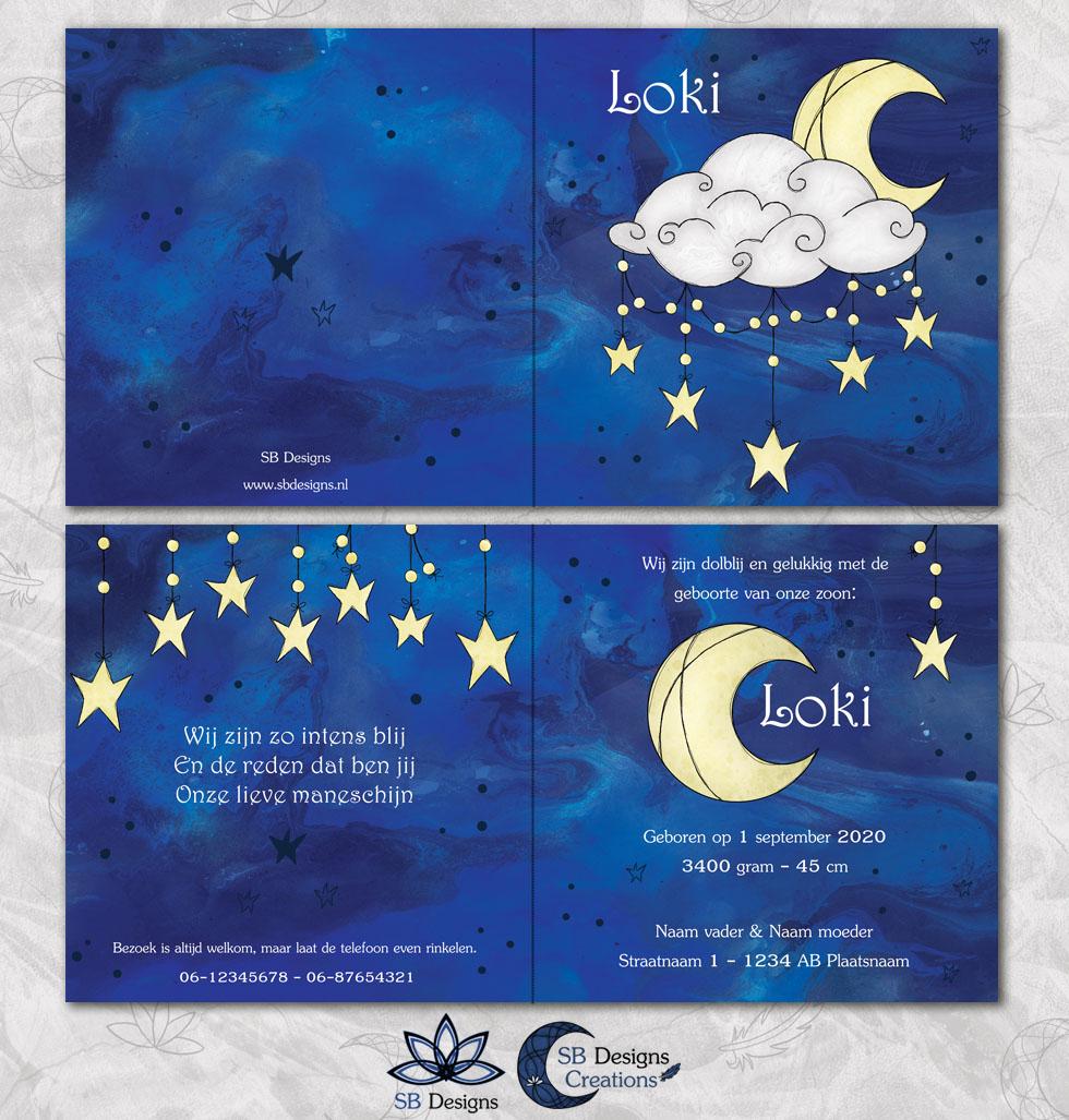 Halve Maan Geboortekaartje Nacht Crescent Moon Babykaart-3