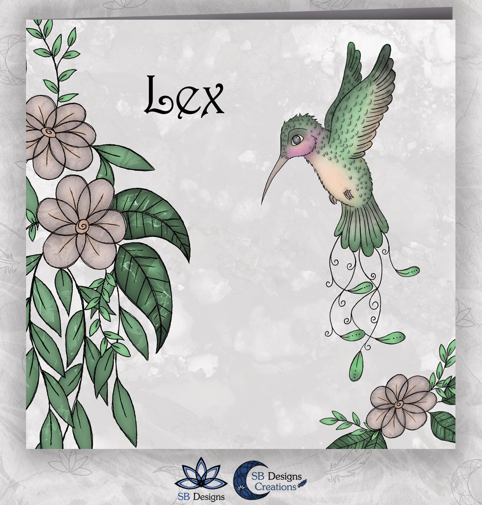 Kolibrie Baby illustratie Art Geboortekaartje Hummingbird - SB Designs - 1
