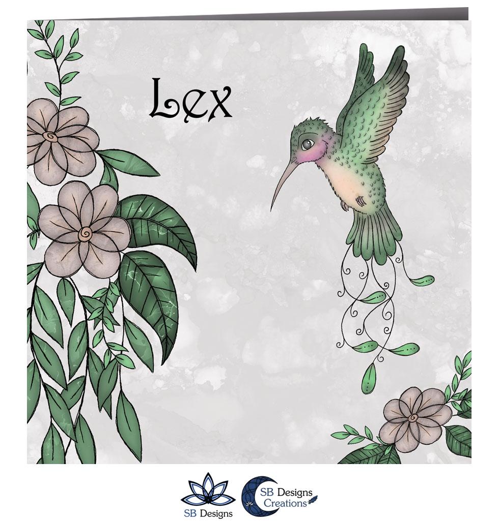 Kolibrie Baby illustratie Art Geboortekaartje Hummingbird - SB Designs - 2