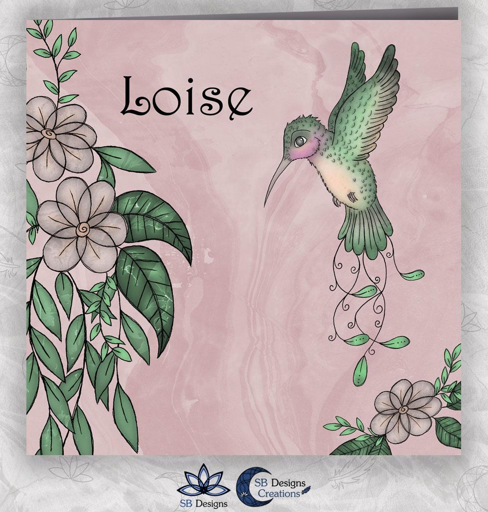 Kolibrie Geboortekaartje Roze - Vogel Babykaart - SBDesigns-1