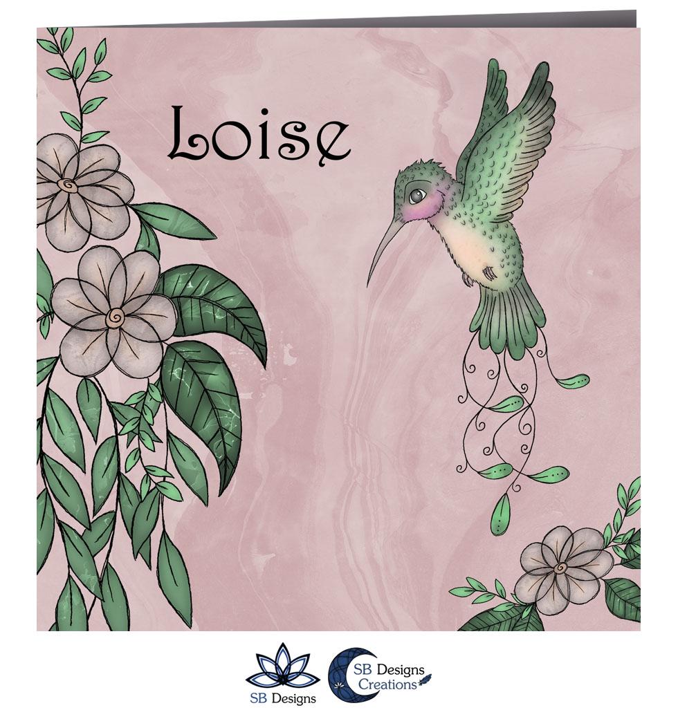 Kolibrie Geboortekaartje Roze - Vogel Babykaart - SBDesigns-2