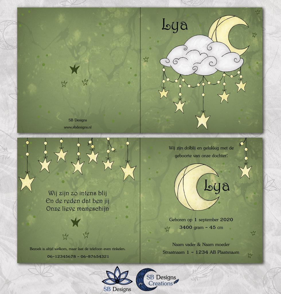 Maan Wolk Geboortekaartje Celestial SBDesigns Creations-3