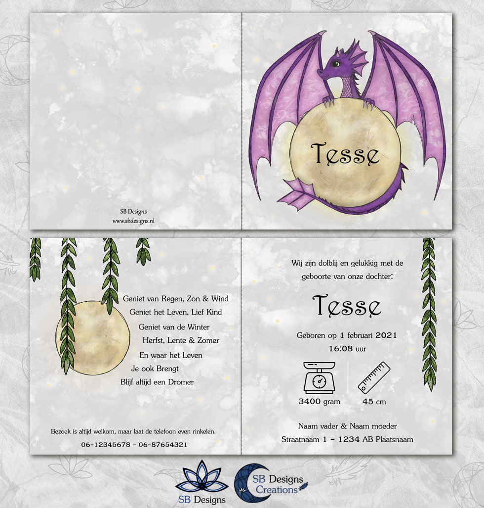 Maandraakje geboortekaartje - Paars draakje - Fantasy geboortekaartje SB Designs-3
