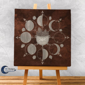 Maanfasen Art Canvas Cauldron Bruin-1