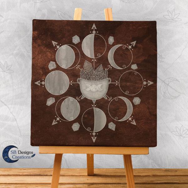 Maanfasen Art Canvas Cauldron Bruin-1