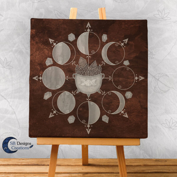 Moonphases Art Canvas Cauldron Brown 1