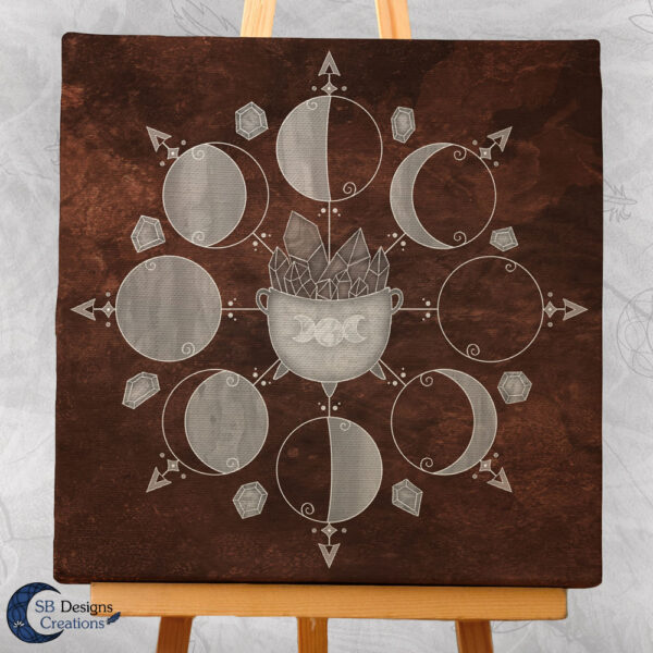 Maanfasen Art Canvas Cauldron Bruin-3