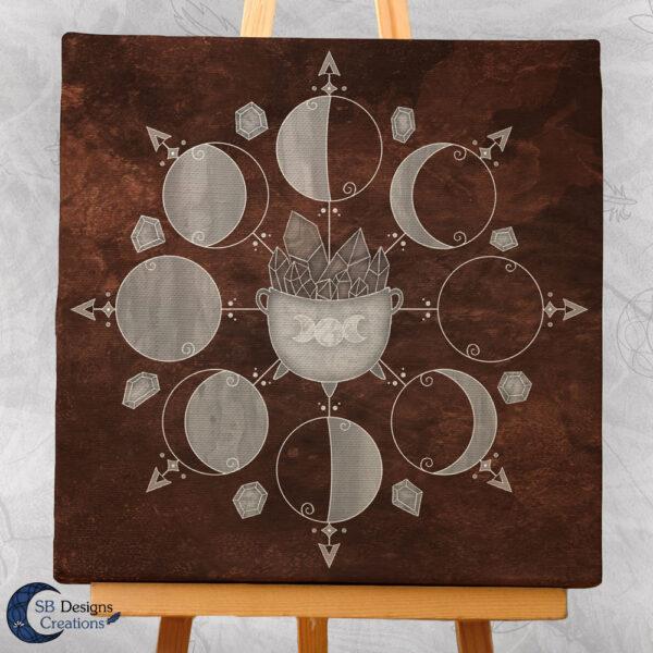 Moonphases Art Canvas Cauldron Brown 3