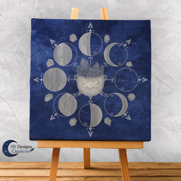 Moonphases Cauldron Blue Canvas Art Witchy Altar Decoration-1