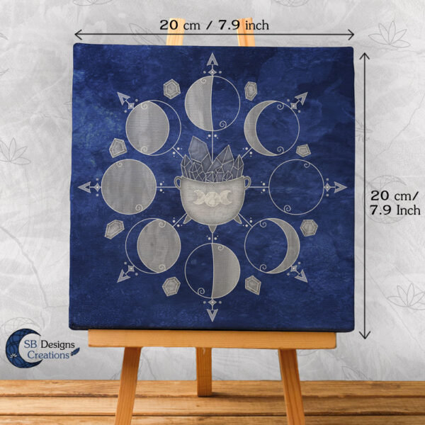 Moonphases Cauldron Blue Canvas Art Witchy Altar Decoration-2
