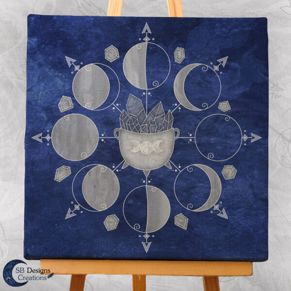 Moonphases Cauldron Blue Canvas Art Witchy Altar Decoration-3