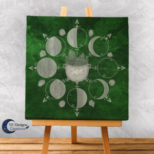 Moonphases Green Witch Cauldron Canvas Artprint-1
