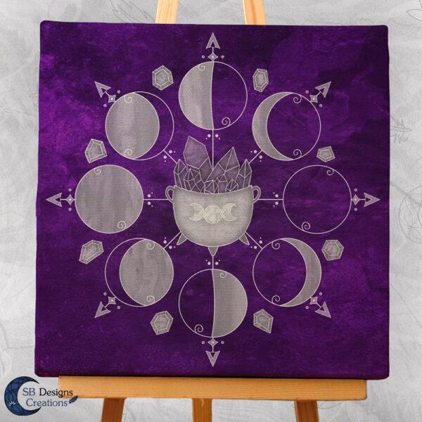 Moonphases Purple Cauldron Canvas Artprint Wall Altar Decoration-1