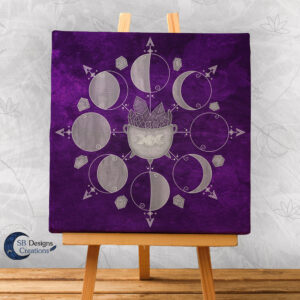 Moonphases Purple Cauldron Canvas Artprint Wall Altar Decoration-3