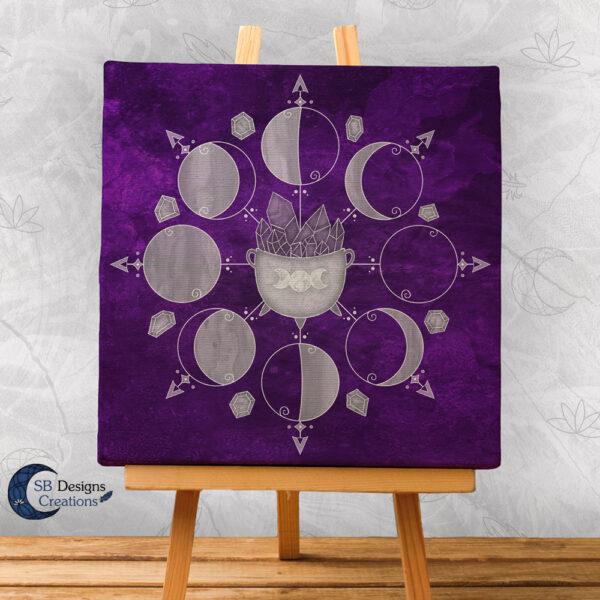 Moonphases Purple Cauldron Canvas Artprint Wall Altar Decoration-3