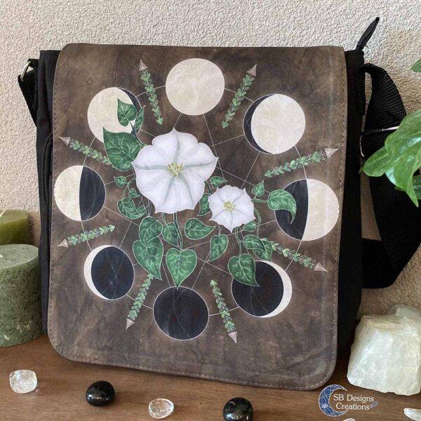 Moonflowers Shoulder Bag illustrated Bag Fantasy Art