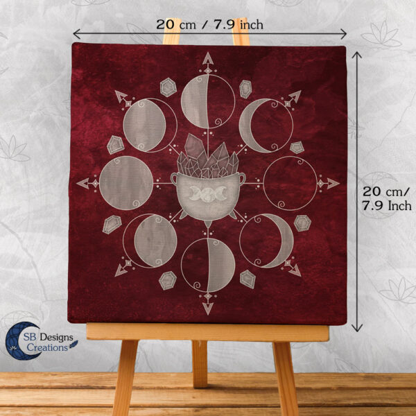 Moonphases Cauldron Canvas Art Rood Red-1