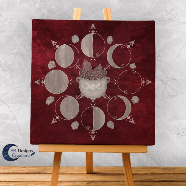 Moonphases Cauldron Canvas Art Rood Red-2