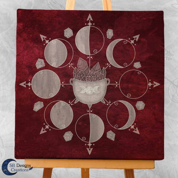Moonphases Cauldron Canvas Art Rood Red-3