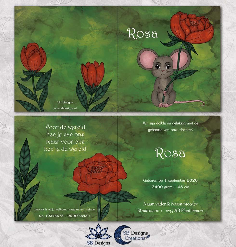 Muis-Geboortekaartje-Muisje-Pioenroos-Dieren-handgetekend-3