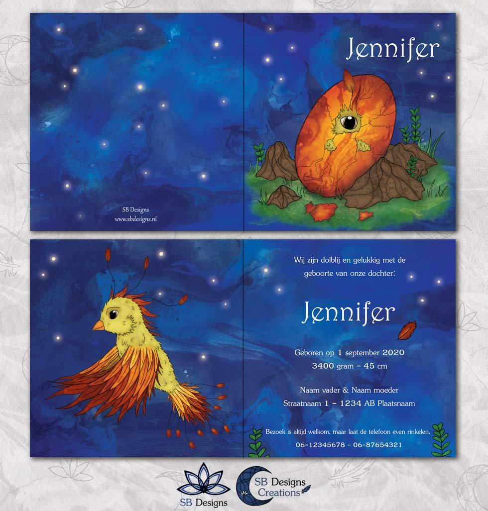 Phoenix-Feniks-Geboortekaartje-Magisch-Fantasy-SBDesigns-Nacht-