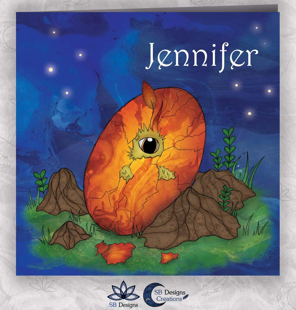Phoenix-Feniks-Geboortekaartje-Magisch-Fantasy-SBDesigns-Nacht
