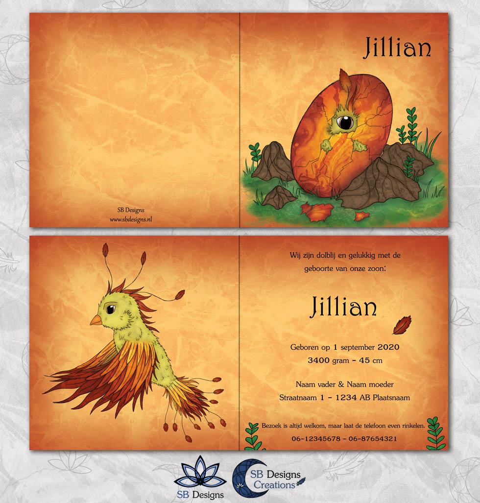 Phoenix-Geboortekaartje-Magisch-Fantasy-SBDesigns-Oranje-2