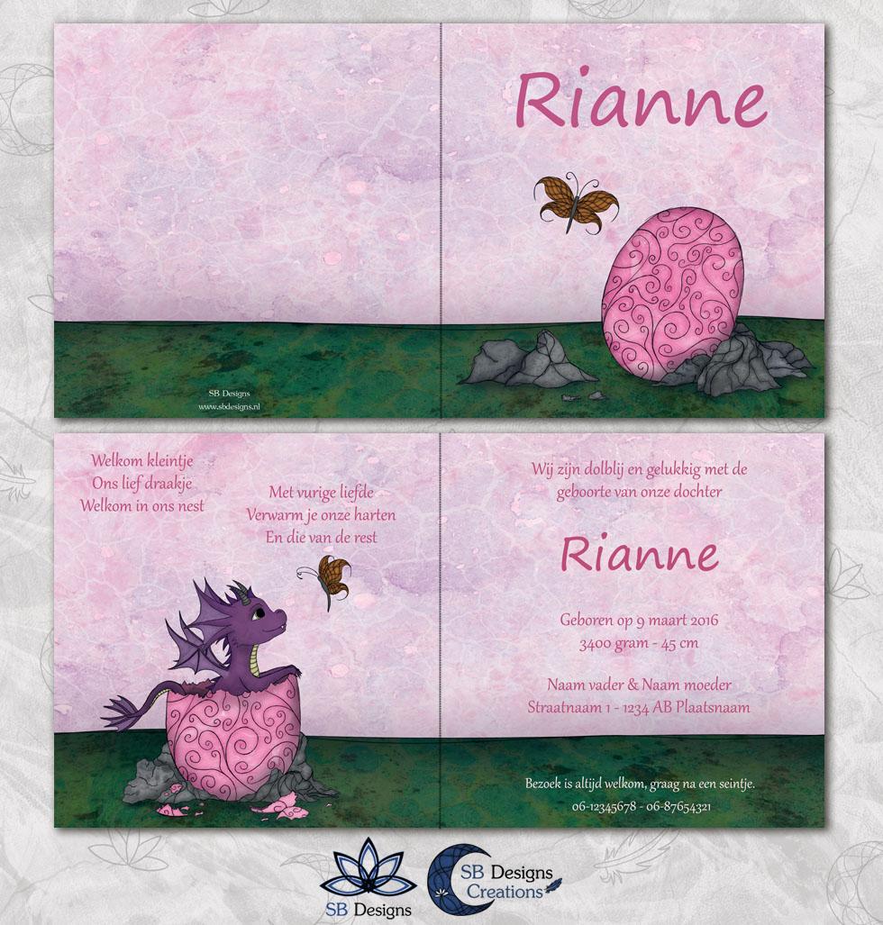 Roze Baby Draakje Geboortekaartje met Draken SB Designs Creations-3